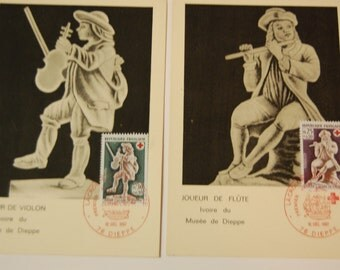 France-Semi Post Red Cross Postcards-Set of 2- Black and White-Unused-B409/410 Scott