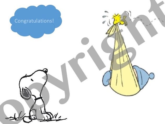 Charlie Brown Instant Download Congratulations Baby Card