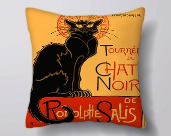Chat Noir Black Cat - Cushion Fabric Panel Or Case or with Filling
