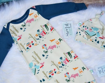 Newborn take home outfit, newborn baby gown, organic baby gown, baby gown, baby girl take home outfit, girl coming home outfit, newborn