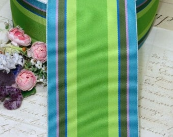 """2 5/8"""" LIME GREEN STRIP Vintage Grosgrain Ribbon Trim French Millinery Hat Ribbonwork Cocarde Pattern Printed  Hat Millinery Fedora Supply"""