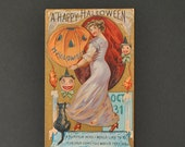 Over 100 years old Vintage Embossed Halloween Postcard Early 1900's one cent card unposted