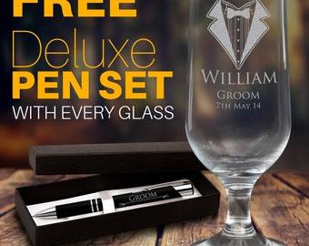 Personalised Engraved 425ml Footed Beer Glass Goblet Wedding Gift Wine Custom Groomsman AUSTRALIA