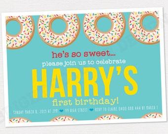 Custom first birthday donut invitation   DIGITAL DOWNLOAD