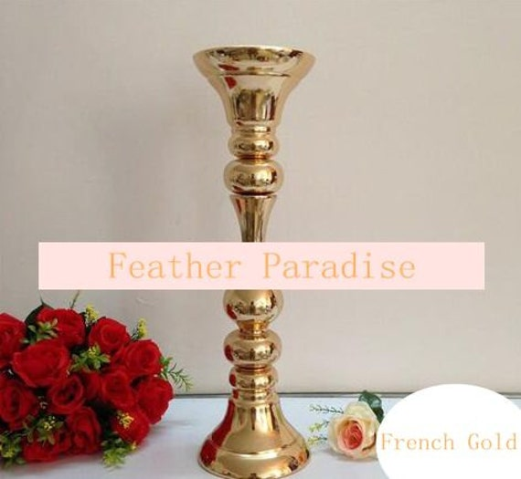Inches french gold metal centerpieces stand pillar candle