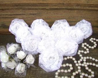 White Lace Flower Set of 12 handmade rosettes Wedding Decor Bridal Party Favor Rustic Shabby Chic Rose Wedding Bouquet White Fabric flowers