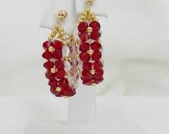 "Swarovski Beaded earrings, Beaded Swarovski earrings, Hoop earrings, Crystal earrings - ""Crystal Hoop earrings"""