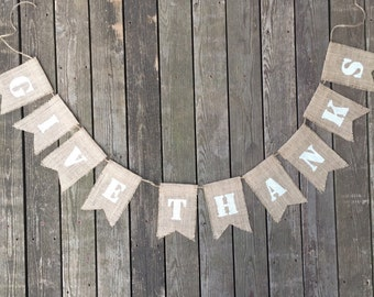 Burlap Give Thanks Banner