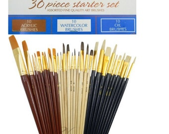 30 Fine Art Paint Brushes for Acrylic, Oil Or Watercolors, Comprehensive Set Of Shapes And Bristles For All Art Media, Beginner Paint Brushs