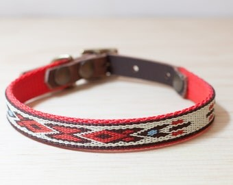 """Thin Custom Leather Red/Brown/White Dog Collar. Navajo Red 1/2"""""""