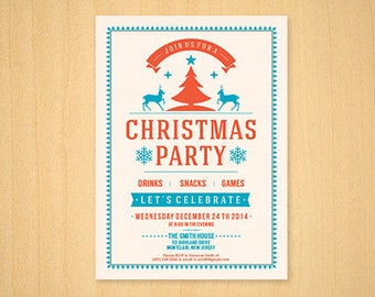 Christmas Party Invitation   Modern Vintage , Light, Christmas New Years Children   PDF or Printed Cards   Funny, Clean, Pretty