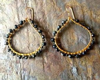 Pyrite gemstone gold tear drop hoop earrings