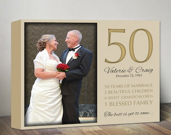 Personalized 50th Anniversary Gift. 50th Wedding Anniversary Canvas Gifts. Custom Anniversary Milestones & Photo. 50 years of Marriage Gift