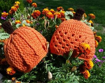 Custom Crochet Pumpkin Hat - All Sizes