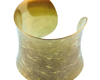 Brass concave Bangle golden shade wide arched 62 mm nickel free adjustable antique tribal