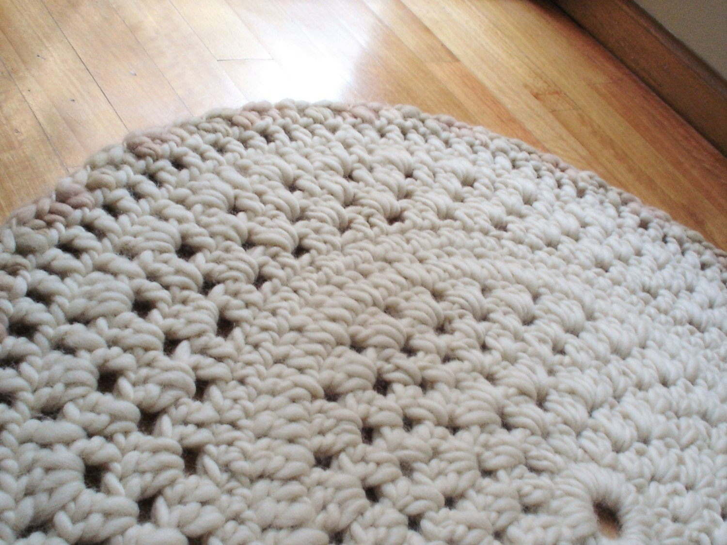 WOOL RUG Area Rug Crochet Rug Round Knitted Rug Chunky Wool Knit Rug  Bedroom Rug Bedside