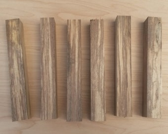 """6 Reclaimed Spalted Walnut Pen Blanks- 7/8"""" Square by 6"""""""