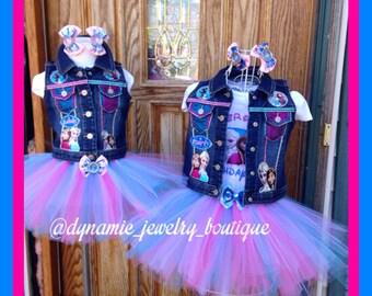 Frozen tutu set, Frozen custom vest, Custom Frozen, Frozen tutu, Tutu set, Frozen vest, Elsa tutu, Anna tutu, Sisters, custom denim vest,