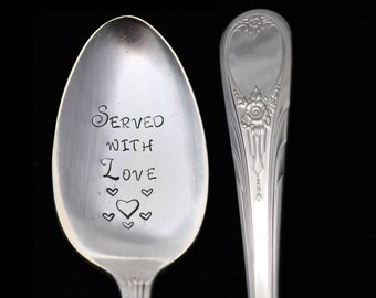 Stamped Vintage Serving Spoon, Served With Love,  Ice Cream Scooper, Hostess Housewarming Gifts Under 20 Newport Silver Plate