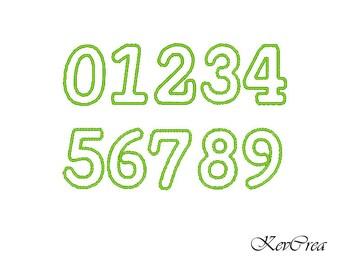 INSTANT DOWNLOAD Numbers applique design - machine embroidery applique designs - 3 size