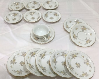 Johann Haviland Bavaria Germany Chippendale LOT of 16 Bowls Plates Cup saucers