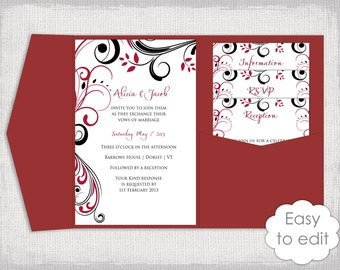 "Pocketfold Wedding Invitation Template DIY Apple red and black pocketfold invitation ""Scroll"" Pocket fold 5x7"" A7 You Edit Word Download"