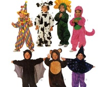 TODDLER BABY Halloween Costume McCalls 8870 Jersey Cow, Barney Dinosaur, Sunflower, Bat, Teddy Bear, Witch Circus Clown, Size 2-3-4 UNCUT