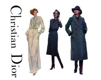 CHRISTIAN DIOR, VOGUE 1734, Women Trench Coat, Sewing Pattern, Button Front, Shirt Dress, Pintuck Bodice, Maxi Dress, Daydress Size 12 UnCUT