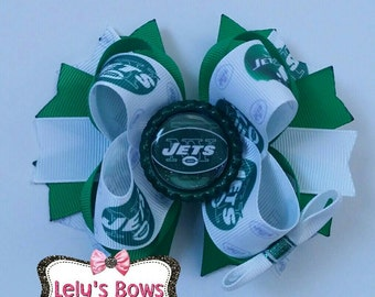 New York Jets Hair Bow, New York Jets hairbow, Jets hairbow, Jets bow, Jets clip, Jets football, New York Jets , Jets, Football hairbow