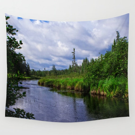Wall Tapestry, Minnesota River, Boundary Waters, BWCA Images, Large Indoor Art, Outdoor Hanging, Water Resistant, Nature Photography