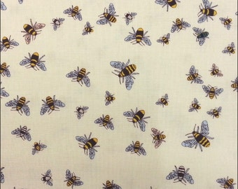 Cotton Fat Quarter Makower Bees on Cream