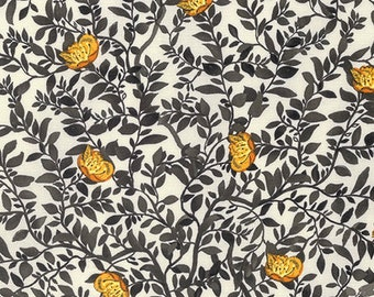SALE Baroque Garden Silhouette Gold Fabric Half Yard or By-The-Yard; PWKM020.GOLDX; Studio KM Free Spirit; Floral Fabric
