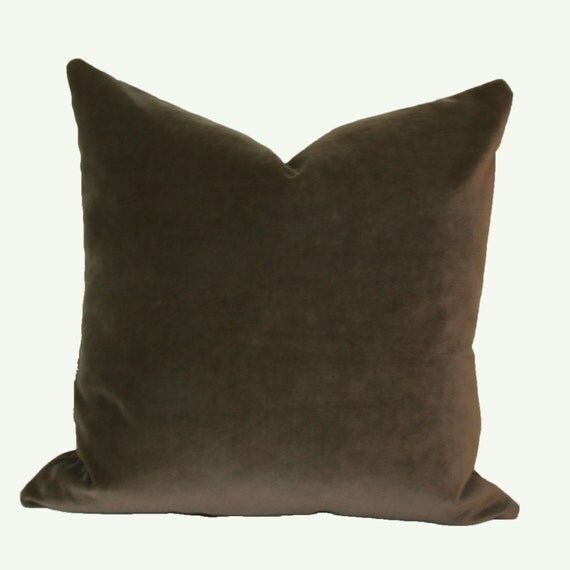 Throw Pillow Covers 26x26 : Mocha velvet throw pillow cover 18x18 20x20 22x22 24x24 26x26