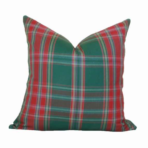Red Plaid Carolers 18: Red Green Plaid Pillow Cover 16x16 18x18 20x20 22x22 24x24