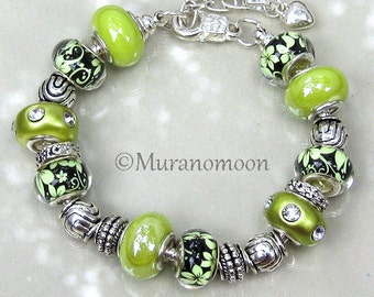 Apple Green Charm Bracelet Glass Bead Lampwork European Style Bracelet Summer Floral Gift For Mother Nana Sister Grandma Aunt #EB1494