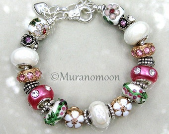 European Charm Bracelet Rose Pink White Flower Floral Lampwork Glass Bead European Style Bracelet Mother Nana Aunt Grandma Jewelry #EB1370