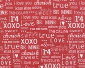 First Crush by Sweetwater for Moda Fabrics, Red Text Print, Love, Hearts, X's and O's, Hugs and Kisses, Valentine's Day Fabric
