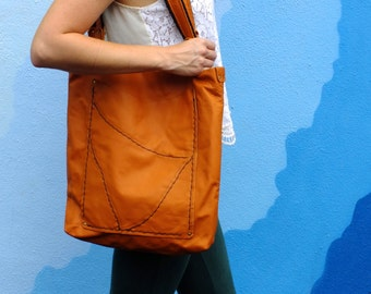 Orange Leather Artist Tote, Handmade with upcycled pocket lining