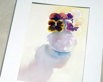 Violets in vase. Original watercolour.