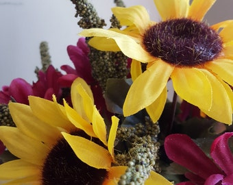 Small Sunflower Arrangement, Kitchen Flowers,  Flowers in Gravy Boat, Faux Flowers, Mums, Yellow Sunflowers, Pink and Yellow Flowers