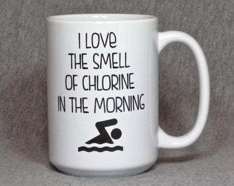 swimming mug, large ceramic mug for swimmer, swim coach, swim parent, 15 ounce typography mug, funny swimmer gift, coffee cup for swim team