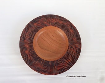 "Carved Rim Bowl - ""Dusk Series"" Black Cherry Bowl - ""Apollo"""