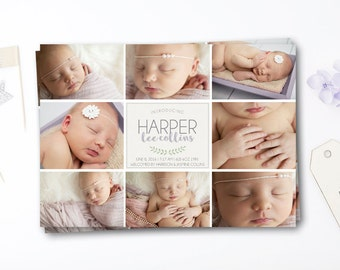 Girl Birth Announcement Card - Picture Collage Birth Announcement - Birth Announcement Printable Card - New Baby Announcement Card Printable