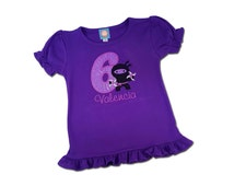 Girl Ninja Birthday Shirt with Number, Weapons and Embroidered Name