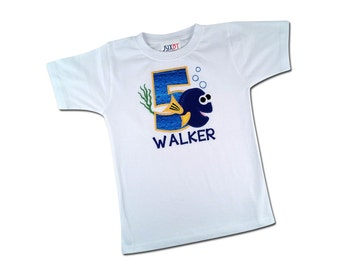Boy Blue Fish Birthday Shirt with Water Number and Embroidered Name