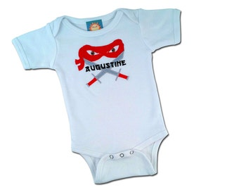 Baby Boy Ninja Mask Bodysuit Choice of Weapon with Name