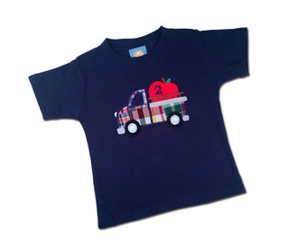 Apple Truck Birthday Shirt and Embroidered Name - M39