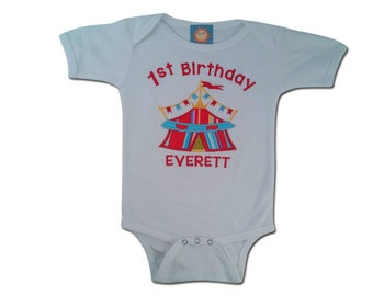Baby 1st Birthday Circus Tent Bodysuit with Embroidered Name