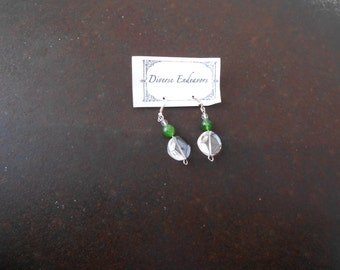 Facetted Round Emerald  Beads with Facetted Clear Round Disk Beads Earring