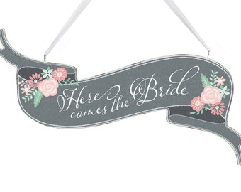 Here Comes The Bride Banner Sign